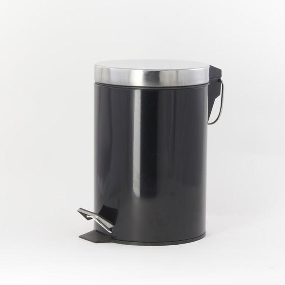 Poubelle de salle de bain happy noir et chrome 3L