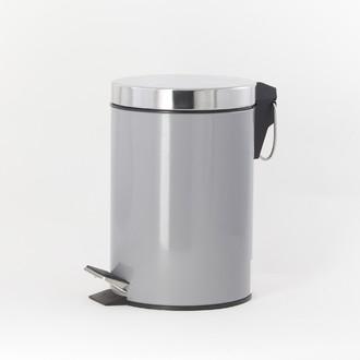 Poubelle de salle de bain happy gris et chrome - 3L