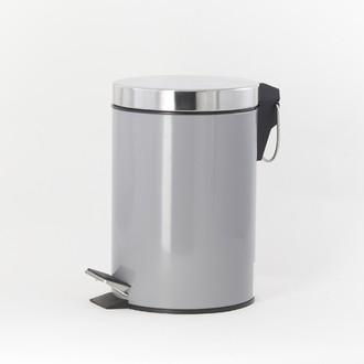 Poubelle de salle de bain happy gris et chrome 3L