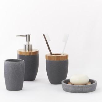 Porte-savon en resine bois gris Forest