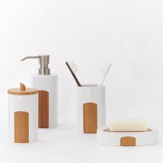 Distributeur de savon en ceramique et bambou Beavis