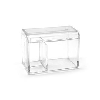 Boite à coton -2 compartiments transparente