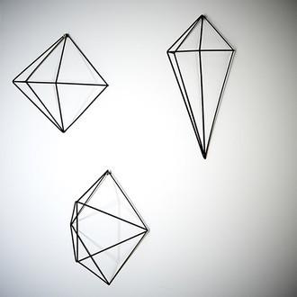 UMBRA - Set de 6 diamants muraux en fil de métal noir 31x60x19cm, 10x12x50cm