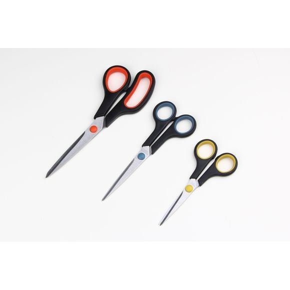 Set di 3 forbici blu, rossa e verde 14,17,21cm