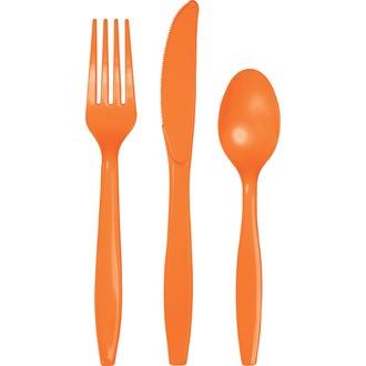 Ménagère 24 couverts jetables en plastique orange