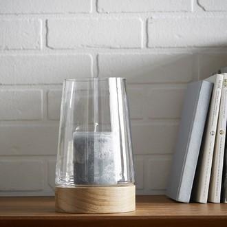 Photophore en verre avec base en bois naturel h21cm
