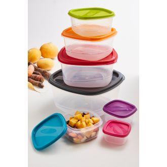 7 contenitori quadrati in plastica, impilabili, multicolore