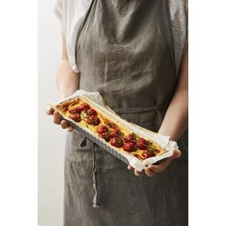 Maom - moule à tarte rectangulaire avec fond amovible revêtu 35x11x2,5cm