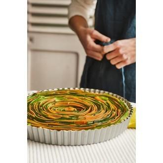 MAOM - Moule à tarte avec fond amovible revêtu en métal 24cm
