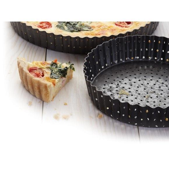 Moule à tarte amovible perforé en acier antiadhésif 30cm Crousty