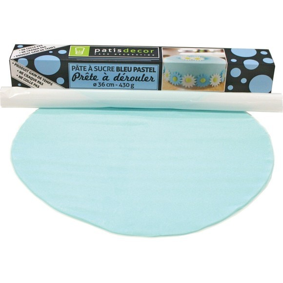acquista online Pasta da zucchero blu pronta da srotolare gusto vaniglia 36cmx4mm