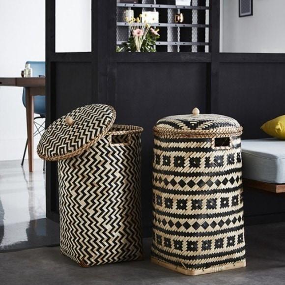 panier linge en bambou naturel noir avec couvercle lomu pas cher z dio. Black Bedroom Furniture Sets. Home Design Ideas