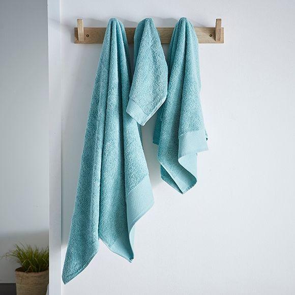 Asciugamano in cotone bio azzurro 50x100cm
