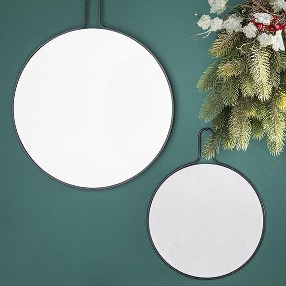 Miroir slim noir Ø25cm
