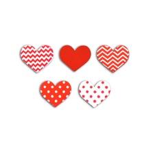 Achat en ligne Set de 25 confettis en bois cœurs blancs et rouges