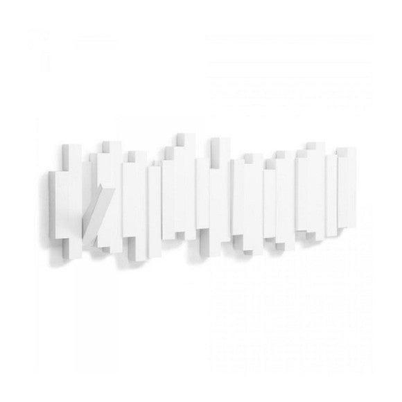 Appendiabiti da parete con ganci pieghevoli in legno bianco