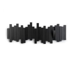 Achat en ligne Patère murale avec crochets repliables en bois noir Sticks