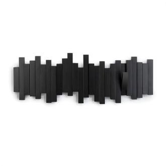 UMBRA - Patère murale avec crochets repliables en bois noir Sticks