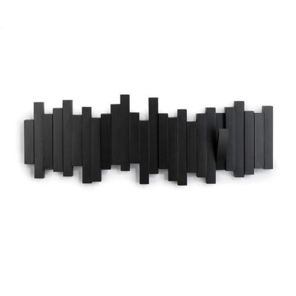 Patère murale avec crochets repliables en bois noir Sticks