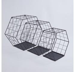 Achat en ligne Set de 3 étagères héxagonales en filaires noires 28 à 37cm