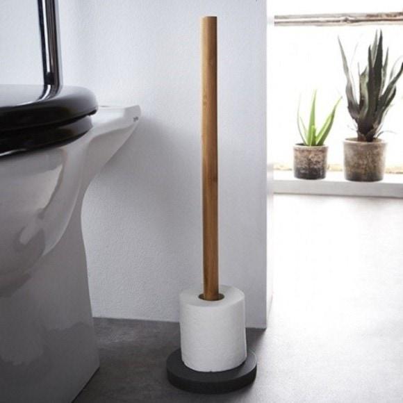 Achat en ligne Stockeur papier toilette 5 rouleaux en bois et résine grise