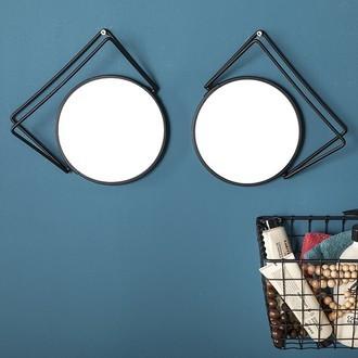 Miroir grossissant rond en métal noir double face x5 diamètre 16cm