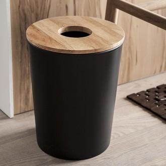 Poubelle de salle de bain noir 7L avec couvercle en bois