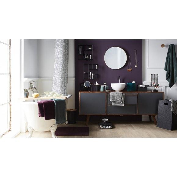 Poubelle de salle de bain noir 7l avec couvercle en bois pas cher z dio - Poubelle salle de bain en bois ...