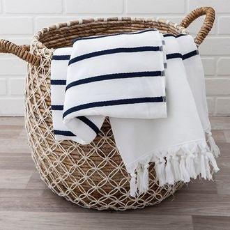 Drap de plage en coton blanc rayé bleu 90x180