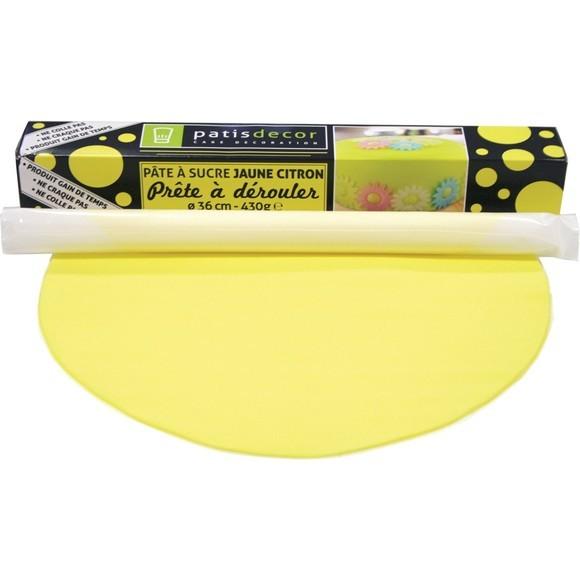 Pâte à sucre jaune à dérouler aromatisée vanille 36cmx4mm