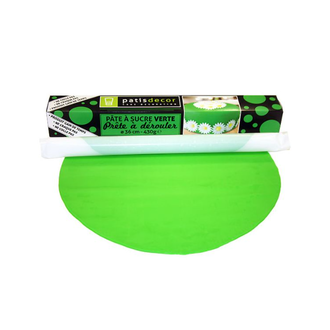 Pâte à sucre verte à dérouler aromatisée vanille 36cmx4mm