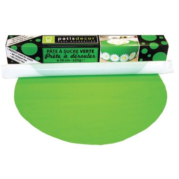Achat en ligne Pâte à sucre verte à dérouler aromatisée vanille 36cmx4mm 430g