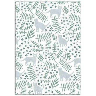 TOGA - Feuille de tissu adhésif vert et gris Chat dans le Jardin format A4