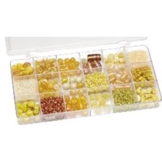 Boite de perles de rocailles en 8 couleurs jaunes assorties