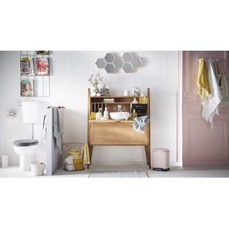 ZODIO - Balai wc avec manche en inox ultra long et socle rose poudré