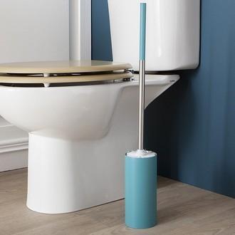 Zodio - balai wc avec manche en inox ultra long et socle bleu paon