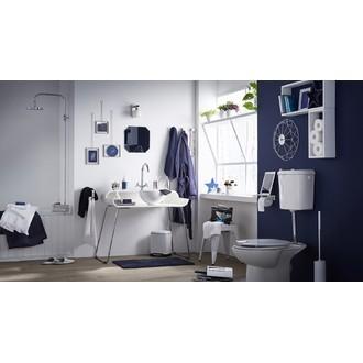 ZODIO - Balai wc avec manche en inox ultra long et socle blanc