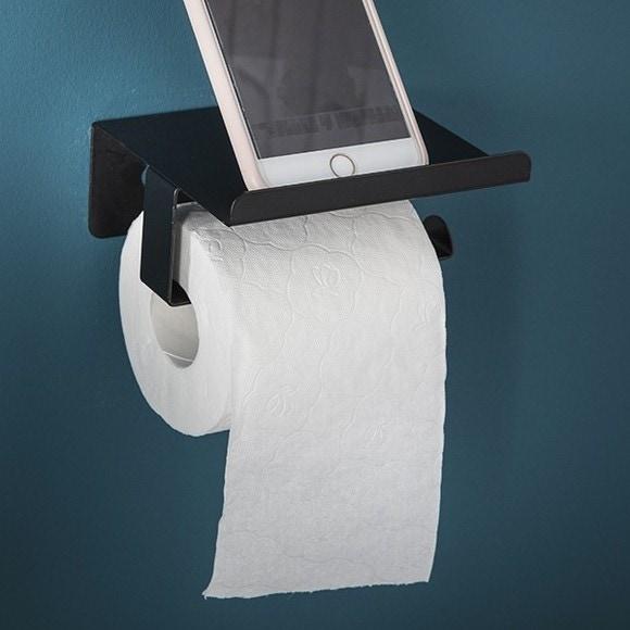Distributore di carta igienica con coperchio nero