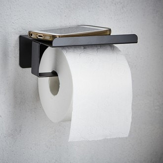 Dérouleur papier toilette avec couvercle noir