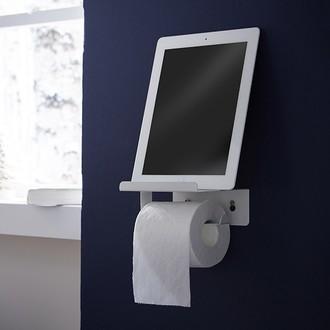 ZODIO - Dérouleur papier toilette avec couvercle blanc