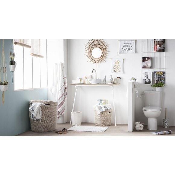 Dérouleur papier toilette avec couvercle blanc