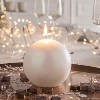 Bougie boule kiev blanc d 90 mm