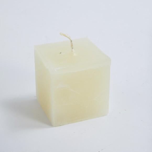 Candela quadrata, avorio, 6x6x6 cm