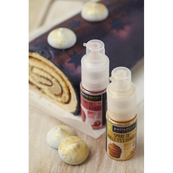Paillettes alimentaire dorée en spray 10g