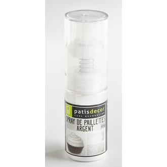 Paillettes alimentaire argenté en spray 10g