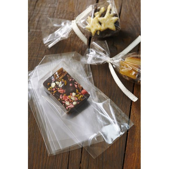 Set 10 sacchetti di plastica trasparenti per dolciumi 16X9,5X4cm