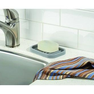 INTERDESIGN - Porte savon en silicone gris Lineo 12,5x9x1,5cm