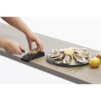 Couteau à huîtres en inox avec support noir