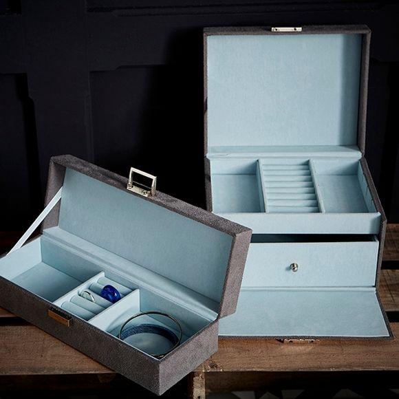 Boite à bijoux grise et bleu aqua en suédine 28x10x7cm