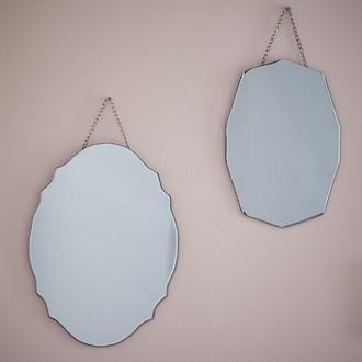 Miroir romantique avec chaîne argenté 25x35cm